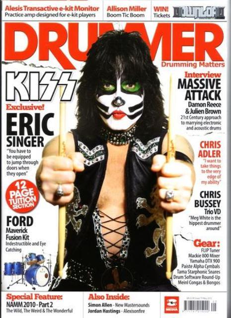 Eric på omslaget till Drummer Magazine