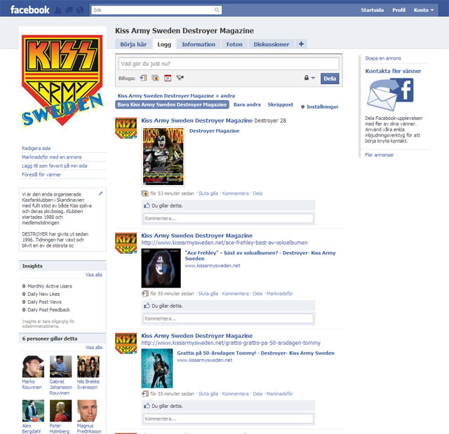 Kiss Army Sweden på Facebook