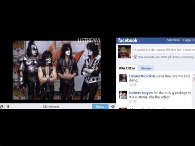 Kiss chatta på Facebook